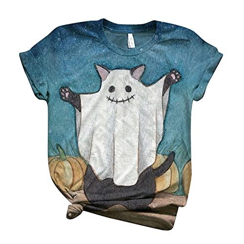 Camisetas de Halloween para mujer, diseño de gato negro, estampado de calabaza, manga corta, cuello redondo, suelto, casual, camisetas suaves, azul celeste, XS