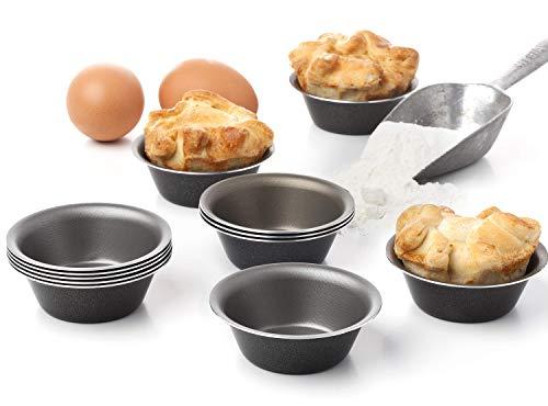 Set mit 12 Mini-Pudding pastel de nata - und Keramik-Förmchen - Pudding Törtchen Pfannkuchen Käsekuchen Torten Muffins Brownies Cupcakes Fondants Pannacotta