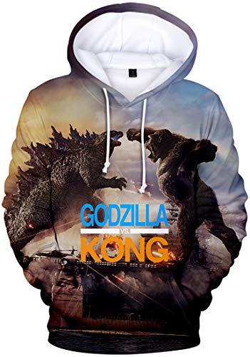 PANOZON Sudadera Niños Godzilla VS Kong Impresión 3D de Figuras King Kong para Fans de Monstruos