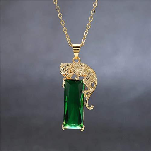 QiuYueShangMao Colgante de Collar Collar con Colgante de Esmeralda para Mujer Gargantilla Verde coloren Leopard Vintage Style Día de San Valentín, cumpleaños