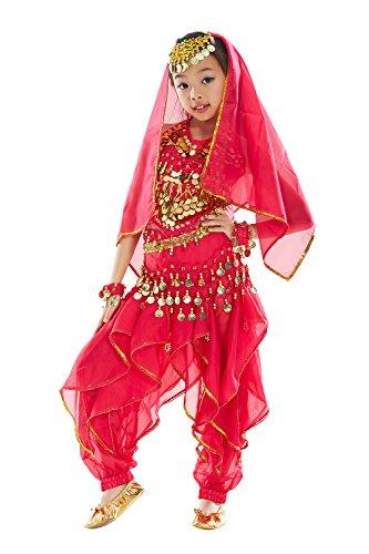 BellyQueen Mädchen Bauchtanz Kleidung Tanzkleid Kinder Ägypten Indische Tanz Outfits 7 Stücke Rosa-S