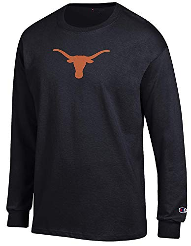 Champion NCAA Men's Texas Longhorns Bevo Logo Long Sleeve T Shirt (Large, Black)