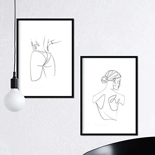 Nacnic Set de 2 láminas de Dibujos con un Solo Trazo Mujer de Espaldas y Trasero Femenino. Posters con una Sola Linea. Tamaño A3 sin Marco