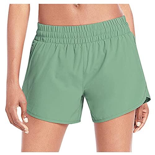 Mujeres Pantalones Cortos Deportivos de Color Sólido con Bolsillos Laterales Shorts de Deporte Casual para Mujer Mallas Fitness Cómodo Pantalón Cortos Absorbentes y Transpirables