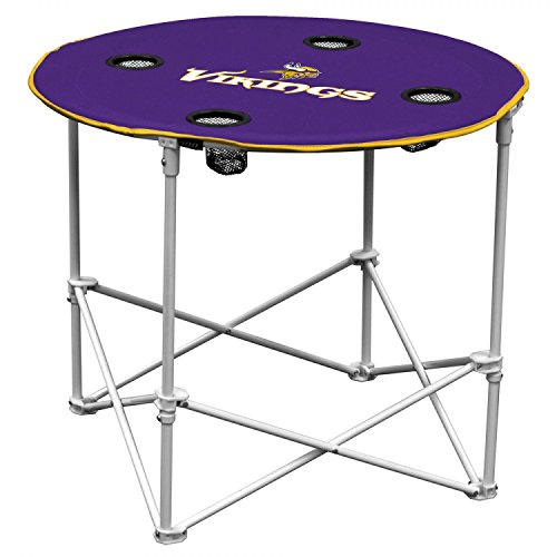NFL Logo Brands Minnesota Vikings Collapsible Round Table with 4 Cup Holders and Carry Bag, Team Color