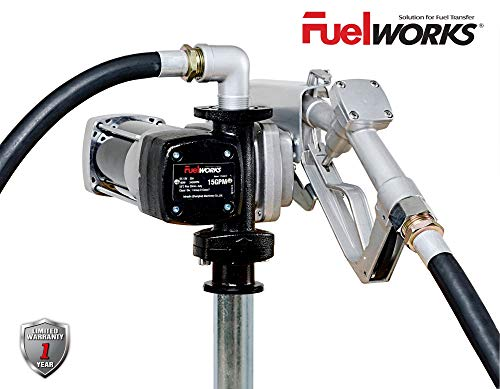 Fuelworks 10305708A 12V 15GPM Fuel Transfer Pump Kit with 14' Hose, Extensible Suction Tube and...