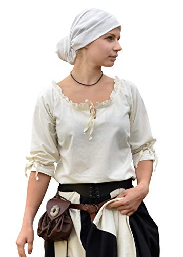 Battle-Merchant Mittelalter Bluse Birga aus Baumwolle mit 3/4 Arm - Mittelalter Kleidung Damen S (Small, Natur)