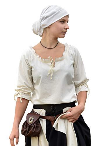 Battle-Merchant Mittelalter Bluse Birga aus Baumwolle mit 3/4 Arm - Mittelalter Kleidung Damen weiß - Mittelalter Kleidung Damen weiß (Large, Natur)