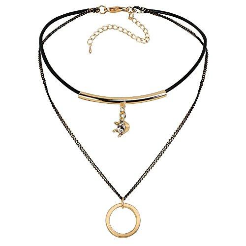 AnazoZ Collar Dos Capas con Corona Circulo Circonita Blanca Colgantes de Acero Inoxidable Mujer Collar Oro Negro