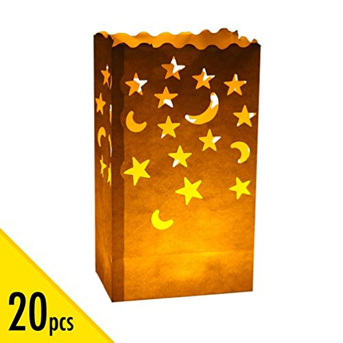 20 pcs White Luminary Candle Bags Special Lantern Luminary Bag with Stars Moon Durable and Reusable Fire-Retardant Cotton Material for Wedding Valentine Reception Engagement Event Marriage Proposal