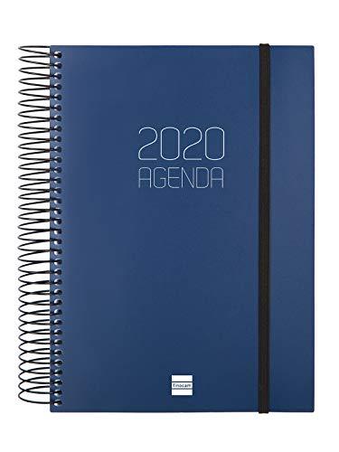 Finocam - Agenda 2020 1 día página Espiral Opaque Azul español - 17.5 x 21.2 cm