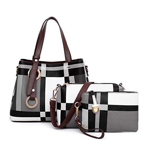 YUXIAOYU Überprüfen Damen Schultertasche Drucken Modische PU-Leder Tasche Schultertasche Top Messenger Bag 3-In-1-Set,Light Gray