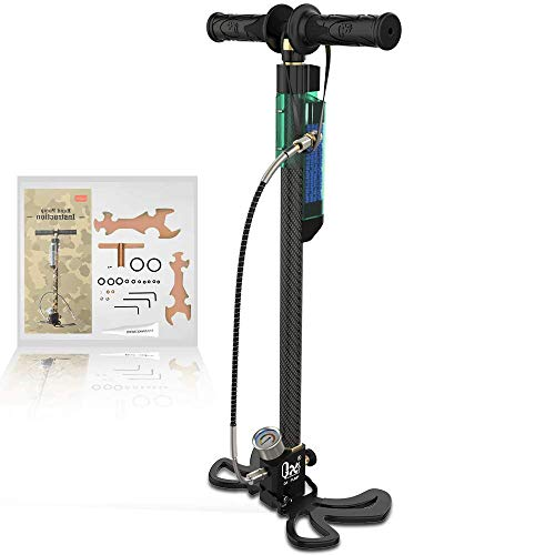 GX PCP Hand Pump with Oil-Moisture Filter, 3.5 Stage High Pressure 30Mpa/4500Psi Air Rifle Filling Stirrup Pump,Stainless Steel Body for Paintball,Scuba Diving