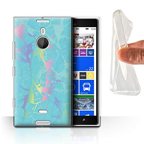 eSwish Gel TPU Hülle/Hülle für Nokia Lumia 1520 / Aqua Blaugrün Regenbogen Muster/Farbe Holografisch Marmor Bewirken Kollektion