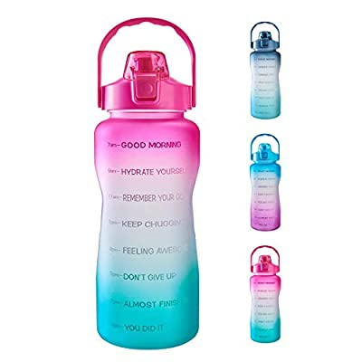 1 Gallon/ 128 oz Water Bottle with Time Marker & Motivational Quote, Leakproof BPA Free Sports Water Bottle To Ensure You Drink Enough Water During Fitness Activities (Pink/Green Gradient)