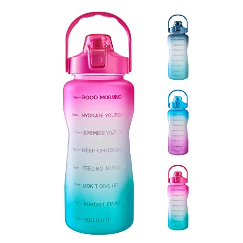 1 Gallon/ 128 oz Water Bottle with Time Marker & Motivational Quote, Leakproof BPA Free Sports Water Bottle To Ensure You Drink Enough Water During Activities (Pink/Green Gradient)