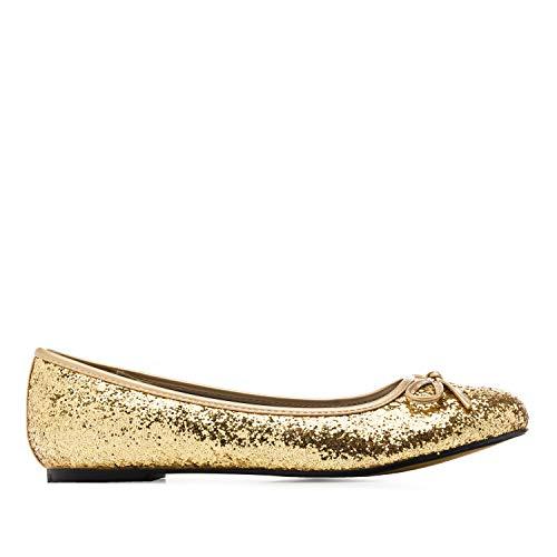 Flache Ballerinas für Damen und Junge Frauen mit flachem Blockabsatz und dekorativer Schleife - Loafer - TG104 – Große Auswahl an Farben und Ausführungen-Gold Glitzer-42 EU