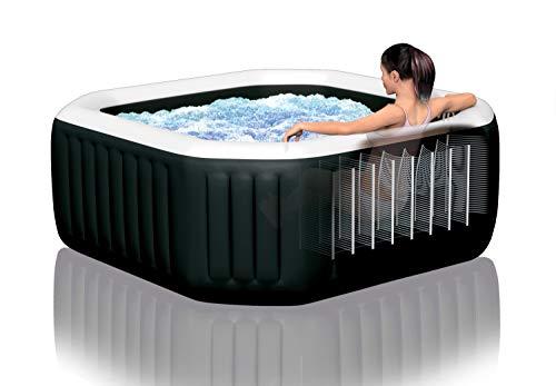 Intex Whirlpool Pure SPA Octagon Bubble Jet mit Salzwassersystem - Ø 218 x 71cm, für 6 Personen, Fassungsvermögen 1.098 l, schwarz, 28462