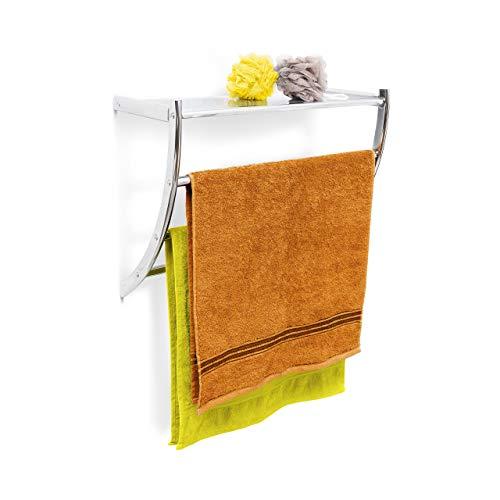 Relaxdays Wandhandtuchhalter Chrom HxBxT: ca. 43 x 56 x 23 cm Handtuchhalter zur Wandmontage mit 3...