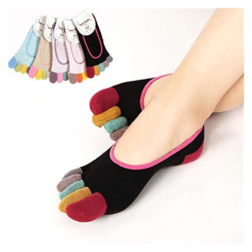 LANGU TECHNOLOGY 5 unids Calcetines Invisibles Mujeres 5 pies de Punta 5 Pares/Lot Moda Dama Mujer niñas Cinco Dedos Entrenador Punta de algodón Calcetines de Barco (Color : 5 pcs Random Color)