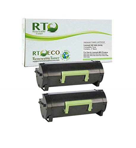 Renewable Toner Compatible Toner Cartridge High Yield Replacement for 501X 50F1X00 MS410 MS415 MS510 MS610 (2-Pack)