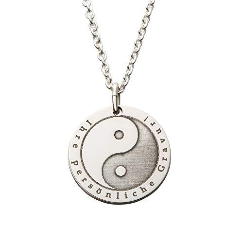 Damen Hals-Kette echt Silber 925 mit Symbol Ying Yang - das Geschenk für Frauen mit persönlicher Gravur - YingYang Schmuck mit Ausdruck von Harmonie...