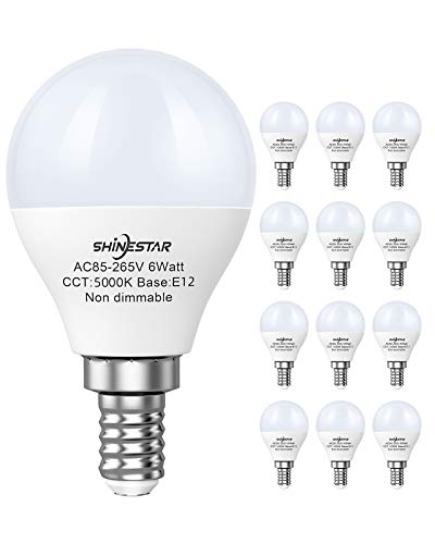 SHINESTAR 12-Pack E12 LED Ceiling Fan Light Bulbs 60 watt Equivalent, 5000K Daylight, A15 LED Round Bulb with Small Candelabra Base, Non-dimmable