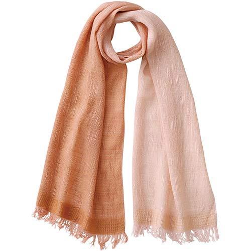 [天然草木染] レディース スラブ織ウールコットンマフラー ピンク すおう