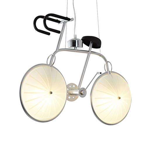 Modern Silber Kinderlampe Fahrrad kreative dekorative Licht, Kinderzimmer Pendelleuchte Höhenverstellbar LED Pendellampe Personalisierte Hängeleuchte für Kinderzimmer Schlafzimmer E14*2