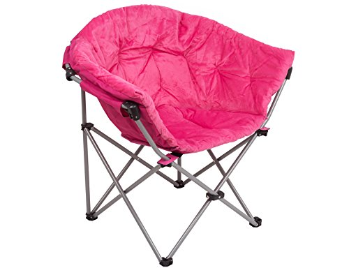 GOJOOASIS Foldable Saucer Moon Chair Dorm Club Chair Half Round Soft Comfortable Short Plush Faux Fur Padded Seat for Adult or Teens (Pink)