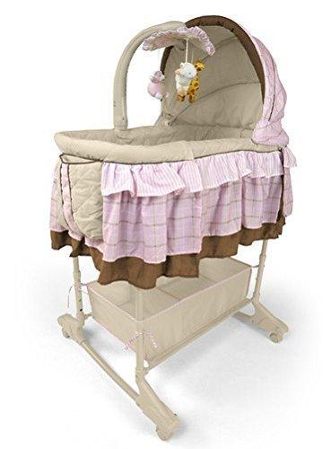 Best For Kids Wiege Stubenbett 4 in 1 Schaukelwiege Babybett mit Melodie, Vibration, Licht, Nachtlampe und Schaukel mit Fernbedienung in zwei Farben zur Auswahl. PRIMA (Pink)