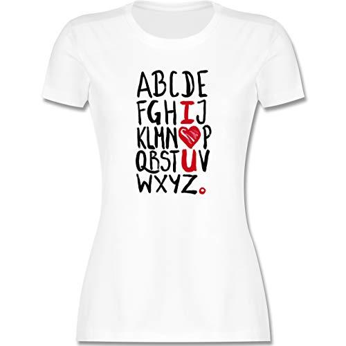 Romantisch - I <3 U - ABC - XL - Weiß - Typo-Grafie - L191 - Tailliertes Tshirt für Damen und Frauen T-Shirt