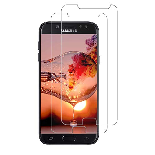 XSWO Cristal Templado Galaxy J5 2017 [2 Unidades], Protector Pantalla Samsung Galaxy J5 2017 Vidrio Templado,[Fácil Instalar] [Anti Huella Digital] [Anti Arañazos] [Sin Burbujas] [Funda Compatible]