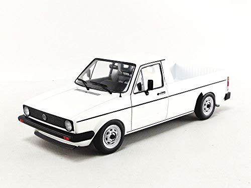 Solido 421185320 S1803501 VW Caddy, MK1, Pritschenwagen, Baujahr 1982, Maßstab 1:18, Modellauto, weiß