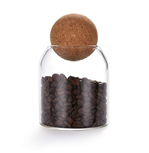 550ML/18Oz round cork glass bottle sealed jar nut storage jar coffee bean jar round transparent