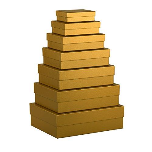 Rössler Papier - Geschenkschachtel, 7er Satz rechteckig - Gold Metallic