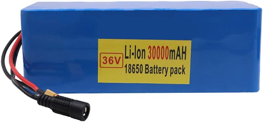 FJYDM Batería De Bicicleta Eléctrica 36V 30AH Paquete De Batería De Litio con Cargador, Batería De Bicicleta Eléctrica Impermeable para Motor De Bicicleta De 500W 300W 200W
