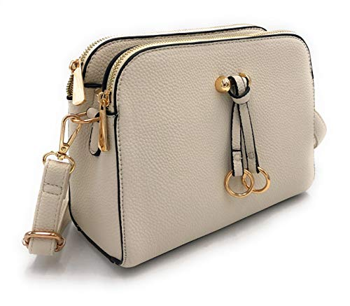 ELIOX Borsa a Tracolla Donna Piccola con 3 Scomparti Capienti - Borsa Mano PU Pelle Sintetica - Borsetta Moda Borse Spalla- Crossbody Bag (Beige)