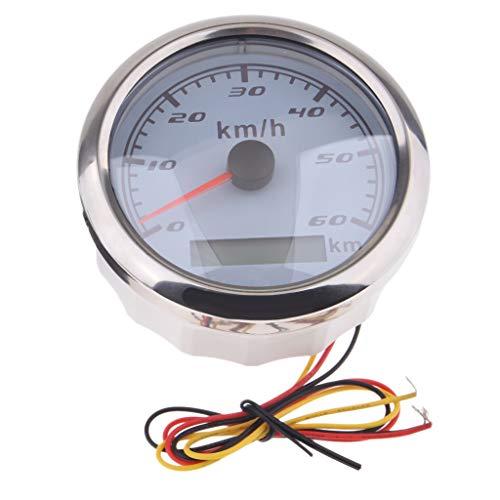Almencla 0-60 km/h Boot Auto GPS Tachometer Digitalanzeige LCD Wasserdicht Geschwindigkeitsmesser Messgerät - Chrom