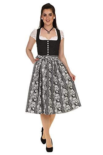 Hammerschmid Damen Dirndl Midi Dirndl kurz Baumwolle mit Balkonett Ausschnitt Schliersee 1912066-89 schwarz Gr.38