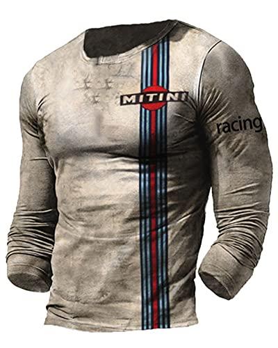 Camiseta con Estampado de Letras Mitini para Hombre Camiseta con Estampado de Letras de Aceite de Carreras Camisetas de Manga Larga con Cuello Redondo