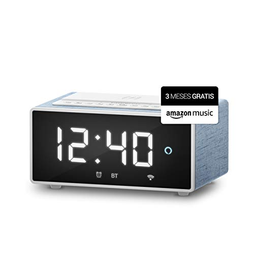 Energy Sistem Reloj despertador digital con Alexa integrado Smart Speaker Wake Up [Amazon Music Unlimited] Oferta 3 meses gratis (10W, Cargador Qi, Wi-Fi, Bluetooth)