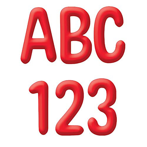 Eureka Red Alphabet and Numbers Bulletin Board and Classroom Decorations, 180pcs, 4'' H