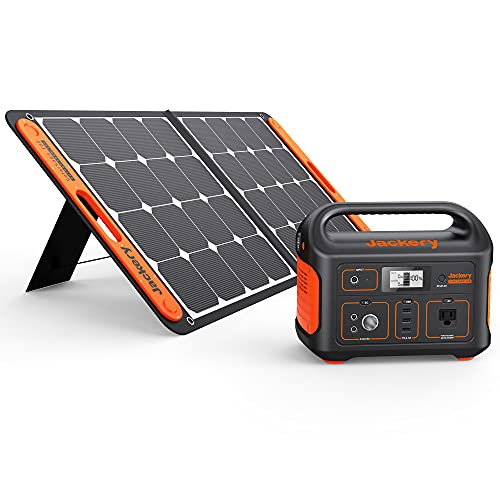 Jackery Solar Generator 500, 518Wh Outdoor Solar Generator Mobile Lithium Battery Pack with Solar Saga 100 for Road Trip Camping, Outdoor Adventure