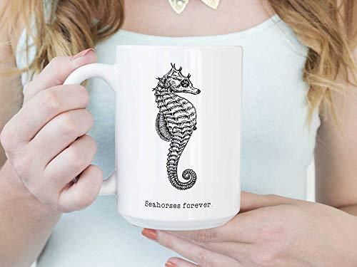 Lplpol Decorative White Mug Seahorses Forever Coffee Mug Or Coffee Cup,Seahorse Mug,Seahorse Cup,Seahorse Gift,Drinking Out Of Cups,Seahorse Lover Gift 15 oz