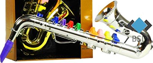 BSD Saxophon mit 4 farbigen Ventilen - Instrument Spielzeug - erste Saxophon für Ihr Kinder - Silber