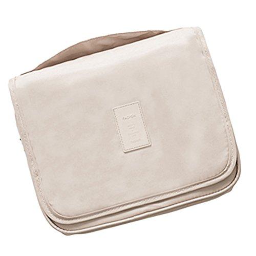 F Fityle Multifonctionnel Pocket Zipper Hook Travel Wash Sac de Rangement Cosmétique Unisexe - Beige, 48x24x1cm