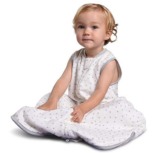Momcozy Baby-Schlafsack Babydecke 1.0 TOG, 2 in 1 Baby-Schlafsack zum Schlafen, 30% Baumwolle, 70% Bambusfaser, Hohe Dichte, Musselin, Super Weich, Erweiterbare Länge für Jedes Alter