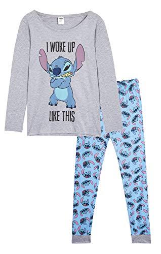Disney Pyjama Femmes Lilo et Stitch, Ensemble de Pyjama Manches Longues avec T-Shirt Stitch et Legging, Vêtements de Nuit, Combinaison Stitch 2 Pièces, Cadeau Femme Fille Ado (8/10)