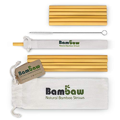Bambaw Pajitas de Bambu   Pajitas Reutilizables, Fabricadas en Bali, Pack 12 Pajitas Biodegradables, Pajitas Cocteles, Pajitas Largas, Incluye Cepillo de Limpieza y Bolsa de Jute, 14 & 22